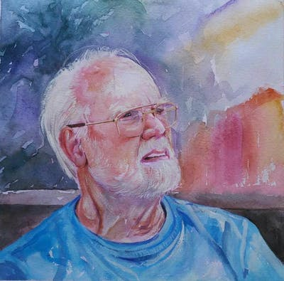 A painting of senior citizen, glasses, man, person, vision care, male, sunglasses, fun, human, elder