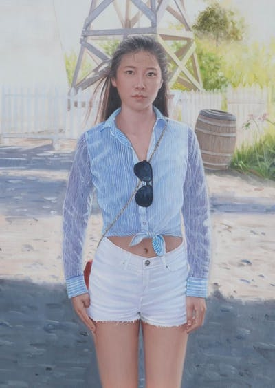 A painting of blue, clothing, denim, jeans, beauty, girl, shorts, standing, outerwear, shoulder