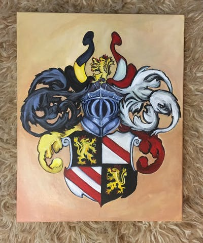 A painting of font, crest, symbol, art, illustration, fictional character