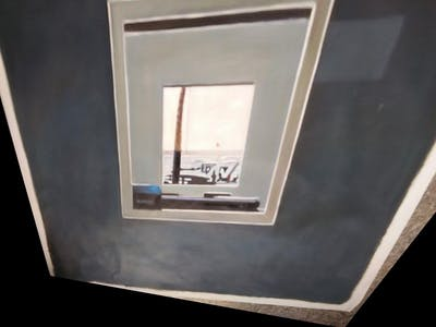 A painting of picture frame, window, paint, square, modern art, painting, daylighting, sky, sash window