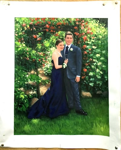 A painting of photograph, gown, dress, man, flower, formal wear, bride, groom, male, ceremony