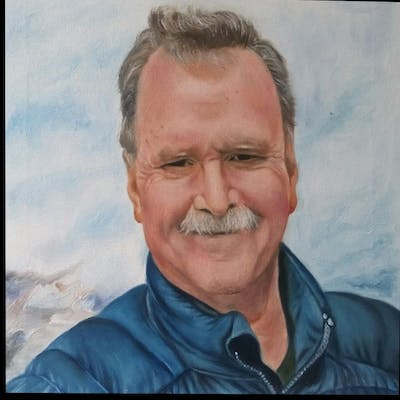 A painting of person, man, facial expression, moustache, chin, forehead, hairstyle, smile, facial hair, elder