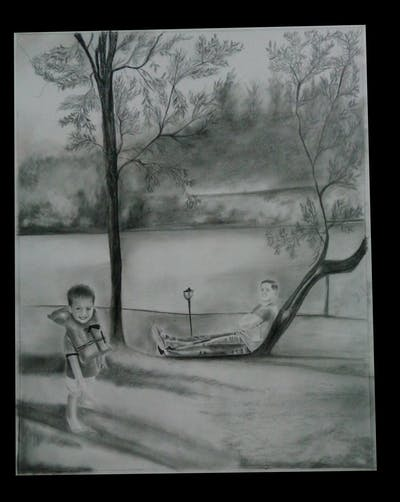 A painting of toddler, child, shoulder, standing, boy, outerwear, sleeve, shorts, fun, textile