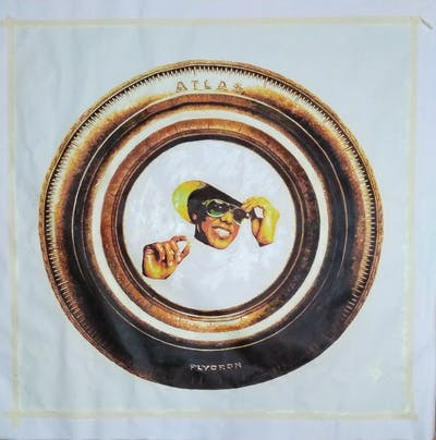 A painting of dishware, circle, font, plate, gold