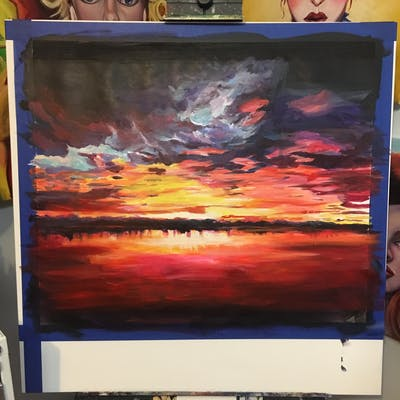 A painting of reflection, sky, red sky at morning, sunset, afterglow, horizon, sunrise, water, dawn, dusk