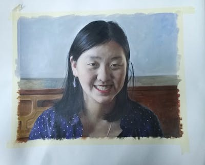 A painting of beauty, girl, smile, black hair, fun