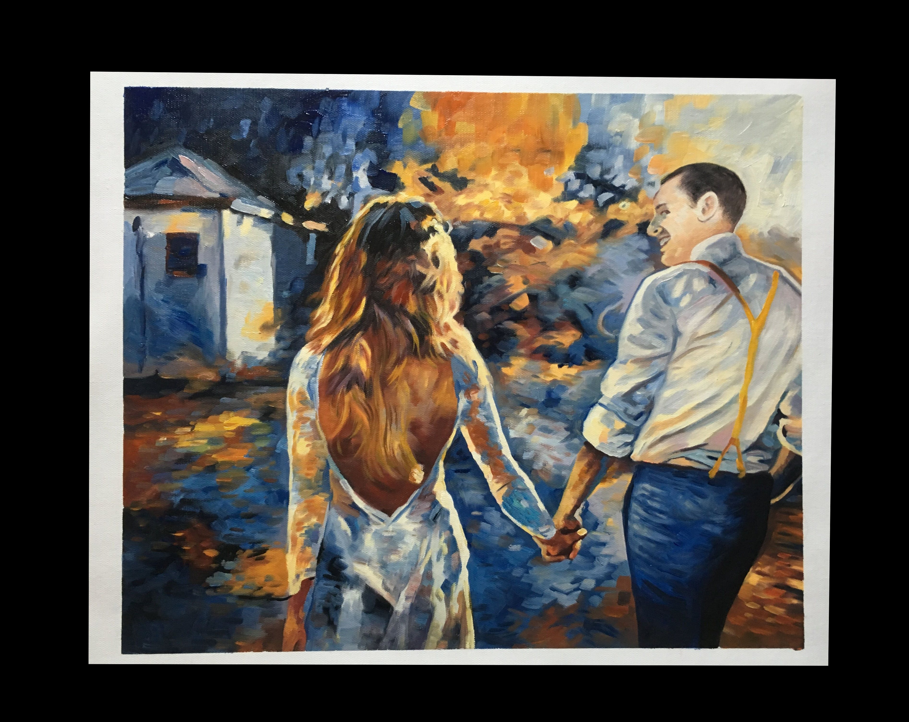 Canvas artwork of newlywed couple holding hands at sunset