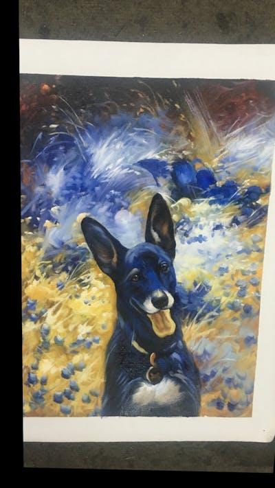 A painting of dog, dog breed, dog like mammal, dog breed group, plant, kunming wolfdog, east european shepherd, grass, king shepherd, snout