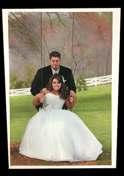 A painting of gown, bride, photograph, wedding dress, bridal clothing, wedding, dress, marriage, ceremony, groom