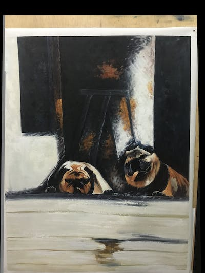 A painting of mammal, dog, dog like mammal, vertebrate, pug, carnivoran, snout, window, non sporting group, square