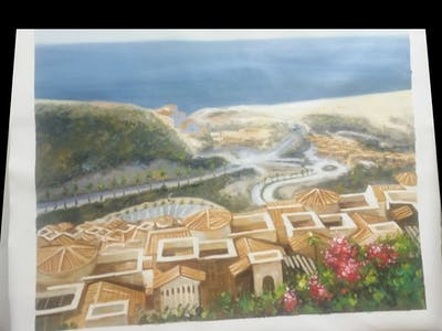 A painting of city, sea, town, sky, coast, residential area, tourism, village, horizon, suburb