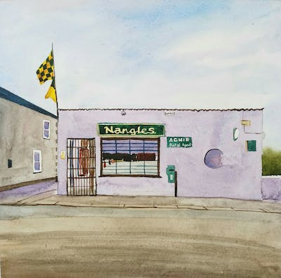 A painting of property, building, facade, signage, road, real estate, house, vehicle, city