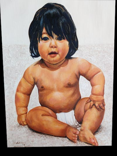 A painting of child, cheek, toddler, arm, barechestedness, muscle, chest, infant, abdomen