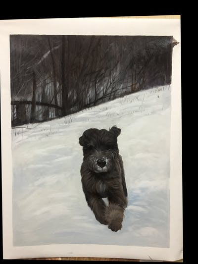 A painting of snow, dog like mammal, winter, dog, dog breed group, fur, freezing, cairn terrier, snout, dog breed