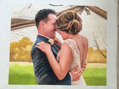 A painting of photograph, pink, bride, romance, fashion accessory, interaction, wedding, ceremony, love, gown