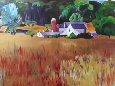 A painting of painting, art, watercolor paint, purple, modern art, acrylic paint, paint, impressionist, artwork, flower