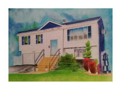 A painting of home, house, property, siding, real estate, residential area, neighbourhood, cottage, window, estate