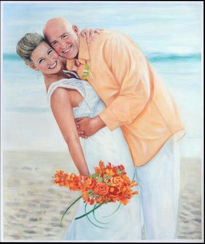 A painting of photograph, bride, pink, flower, gown, wedding, summer, bridal clothing, wedding dress, romance