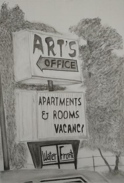 A painting of signage, sign, street sign, font, advertising