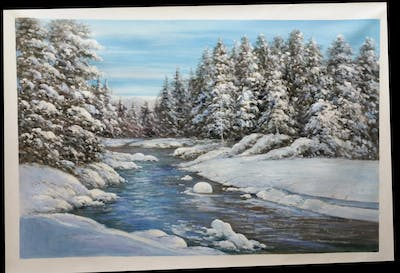 A painting of snow, winter, nature, water, wilderness, tree, freezing, river, sky, mountain