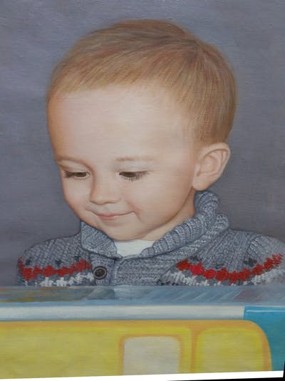A painting of child, head, cheek, infant, toddler, boy, smile, product, girl, ear