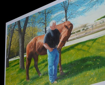 A painting of fauna, grass, horse like mammal, livestock, horse, organism, tree, pack animal, pasture
