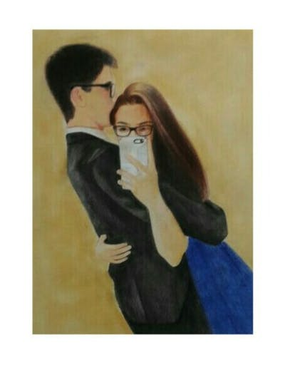 A painting of eyewear, vision care, glasses, fashion accessory, product, interaction, black hair, girl, cool, fun