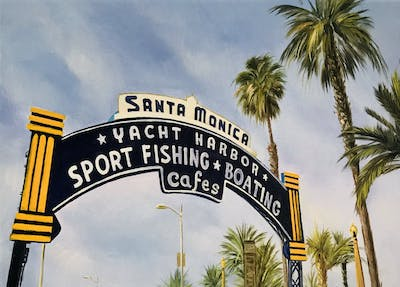 A painting of sky, tree, palm tree, street sign, arecales, signage, tourism, tourist attraction, sign, vacation