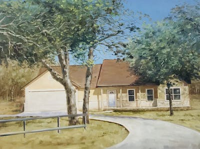 A painting of property, home, house, real estate, tree, roof, landscape, building, farmhouse, facade