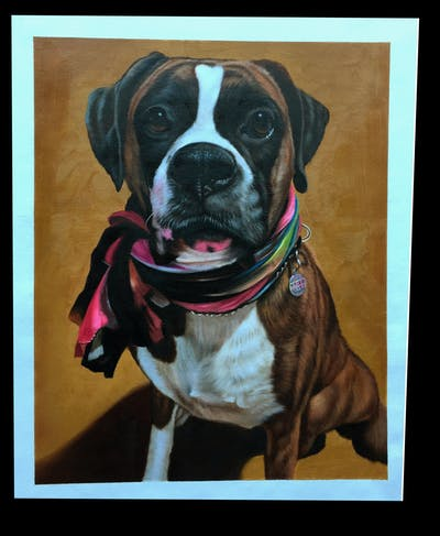 A painting of dog, boxer, dog breed, dog like mammal, snout, valley bulldog, carnivoran, dog crossbreeds, dog breed group