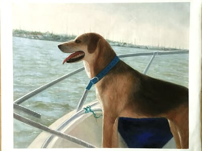 A painting of dog, dog like mammal, dog breed, boat, dog breed group, snout, dog crossbreeds, hound, beagle, sporting group