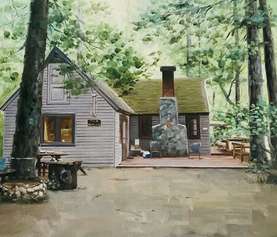 A painting of house, home, property, cottage, log cabin, tree, siding, real estate, shed, outdoor structure