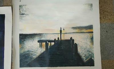 A painting of sky, water, sea, horizon, cloud, sunset, pier, calm, sunrise, dock