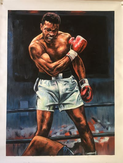 A painting of man, art, aggression, boxing glove, muscle, pradal serey, arm, wrestler, fictional character, bodybuilding