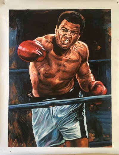 A painting of muscle, pradal serey, aggression