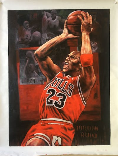 A painting of art, basketball player, computer wallpaper