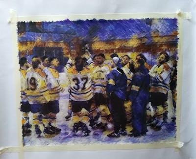 A painting of college ice hockey, team, ice hockey position, ice hockey, team sport, defenseman, hockey, sport venue, jersey, sportswear