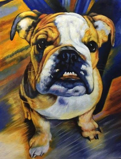 A painting of dog, dog like mammal, dog breed, old english bulldog, bulldog, toy bulldog, olde english bulldogge, british bulldogs, australian bulldog, snout