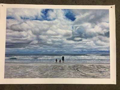 A painting of sea, cloud, sky, beach, ocean, horizon, shore, body of water, coastal and oceanic landforms, coast