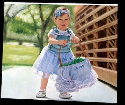A painting of blue, child, girl, dress, toddler, costume, fun