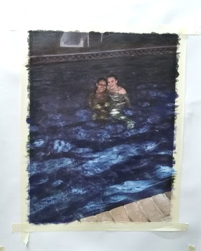 A painting of water, swimming pool, floor, reflection, fun, flooring, leisure, recreation, water resources, water feature