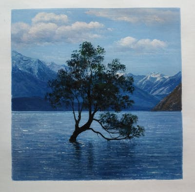 A painting of water, sky, nature, tree, lake, reflection, woody plant, loch, wilderness, mountain
