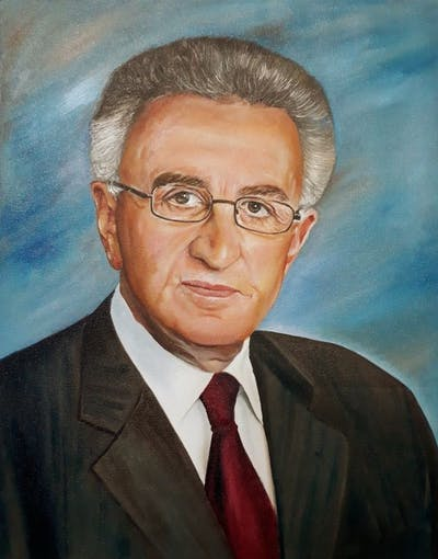 A painting of person, official, profession, elder, senior citizen, chin, businessperson, forehead, executive officer, professional