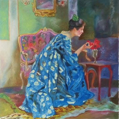 A painting of blue, painting, art, modern art, dress, artwork, flower, acrylic paint, impressionist, girl