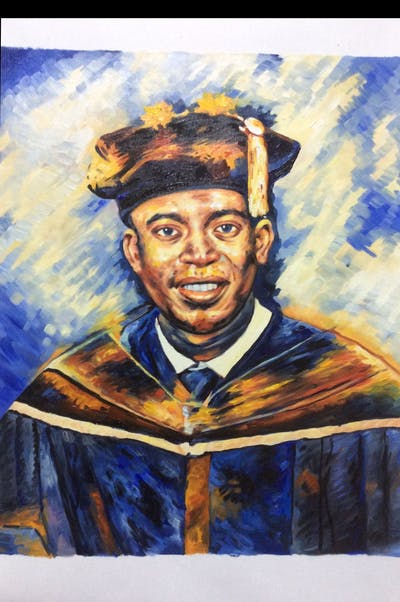 A painting of graduation, academic dress, scholar, academician, phd, mortarboard, purple, event, headgear, profession