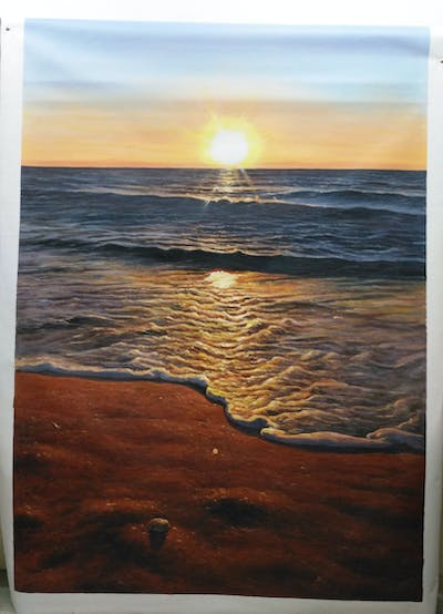 A painting of sea, horizon, body of water, shore, sky, sunset, ocean, sun, water, wave