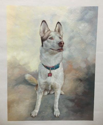 A painting of dog, dog like mammal, dog breed, dog breed group, siberian husky, alaskan klee kai, snout, canaan dog, miniature siberian husky, fur