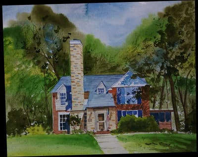 A painting of home, property, house, cottage, real estate, estate, farmhouse, tree, historic house, landscape