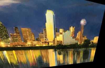 A painting of cityscape, reflection, skyline, city, metropolitan area, metropolis, urban area, landmark, night, sky