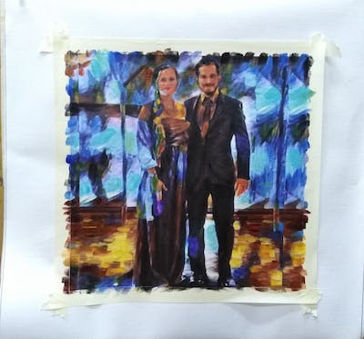 A painting of photograph, gown, suit, formal wear, dress, bride, wedding, ceremony, groom, bridal clothing
